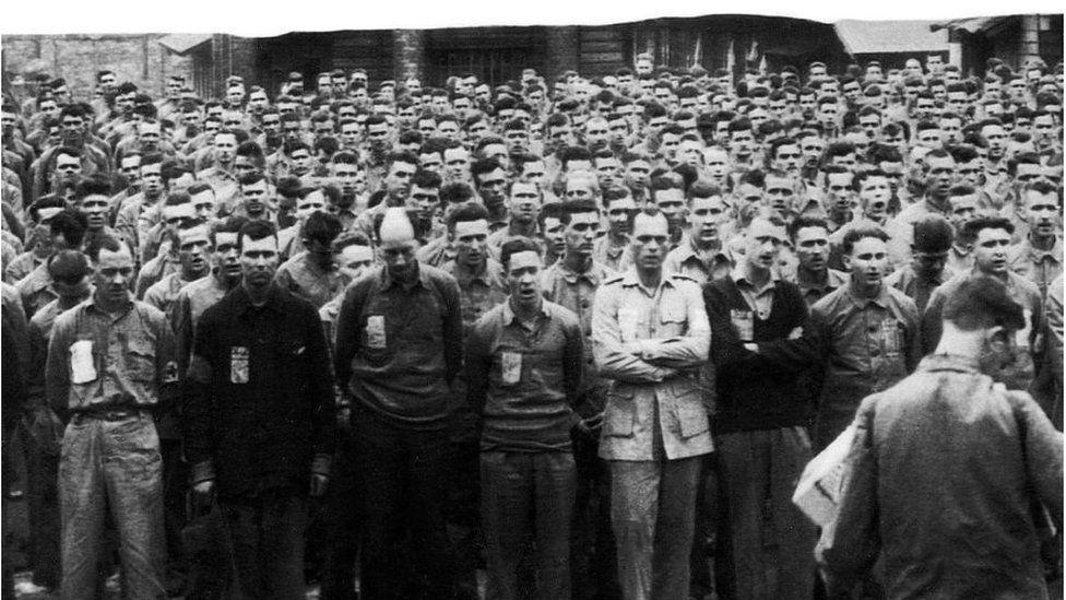 POWs at a prayer service at the Kinkaseki copper mine