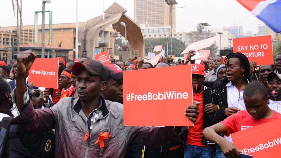 Kenyans held protests calling for the release of Bobi Wine