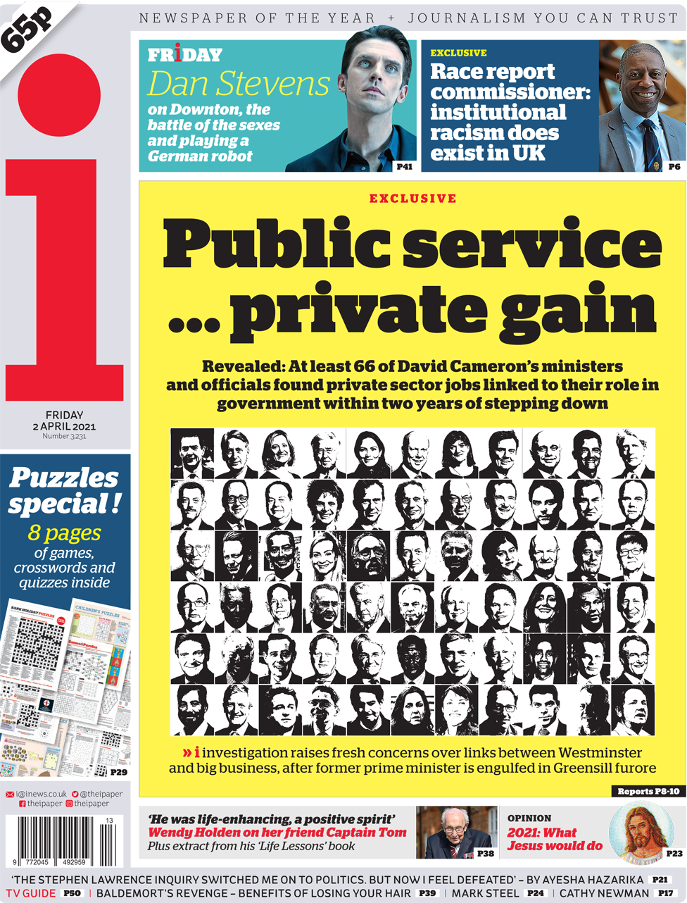 The i front page 2 April 2021
