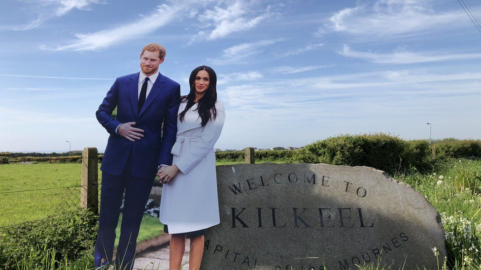 Life-sized cardboard figures of Prince Harry and Meghan Markle at Kilkeel, County Down