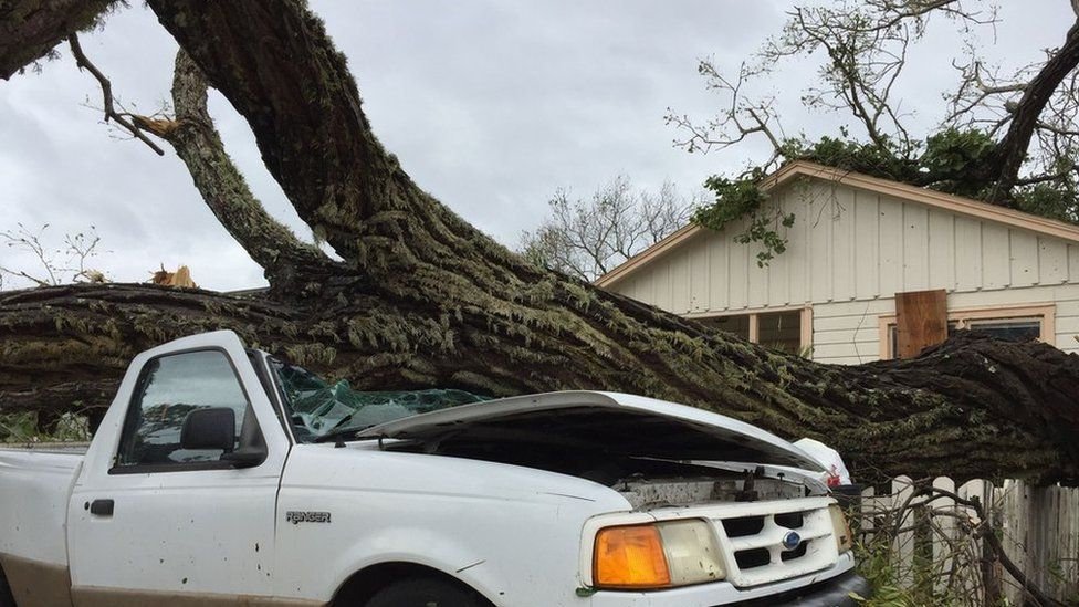 Damaged car in Fulton, Rockport, Texas