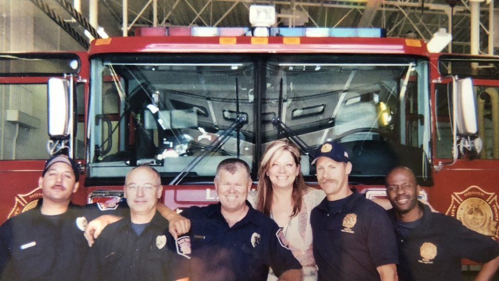 Robin Lawson with some of her colleagues in the fire department, May 2006