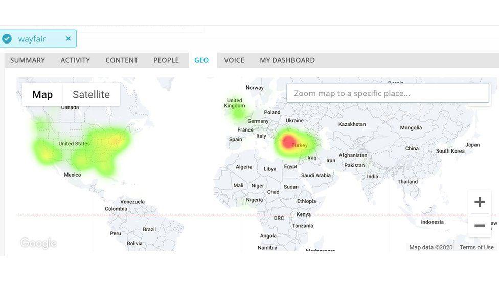 The global spread of the term Wayfair on Twitter