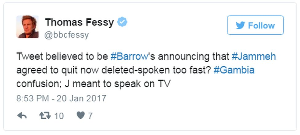 """A tweet reads: """"Tweet believed to be #Barrow's announcing that #Jammeh agreed to quit now deleted-spoken too fast? #Gambia confusion; J meant to speak on TV"""""""