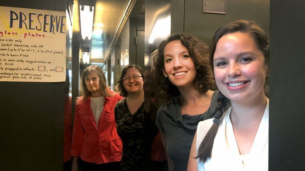 From left to right, these are the women working to digitize the women computers notebooks: librarian Maria McEachern; assistant head librarian Katie Frey; head librarian Daina Bouquin and curator Lindsay Smith Zrull.