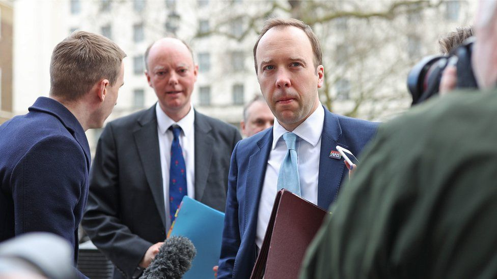 Matt Hancock and Chris Whitty arriving at the Cabinet Office on 9 March