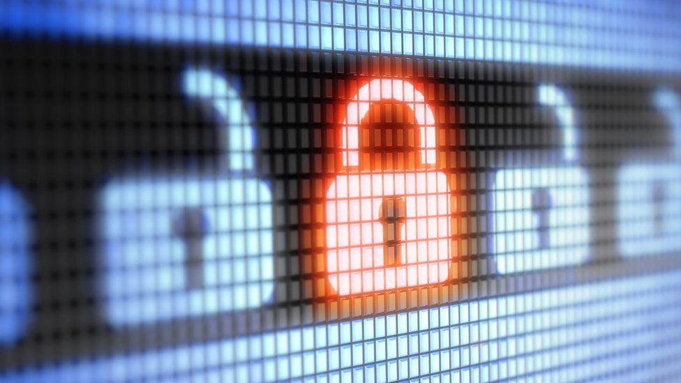 Digital image of glowing red padlock