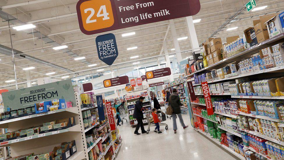 Long life milk aisle in Sainsbury's
