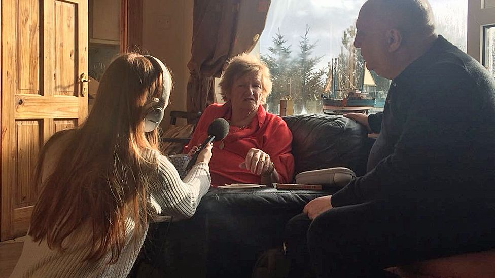 Mary Boyle's mother, Ann, speaking to Kevin Connolly, and being recorded by producer Maria Byrne