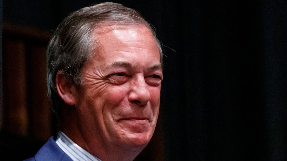Brexit Party leader Nigel Farage after the polls closed