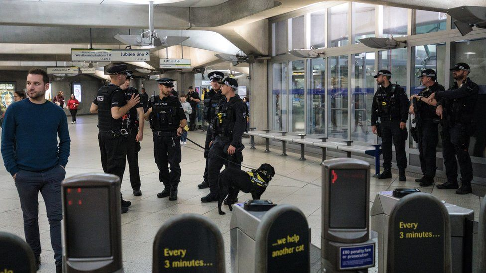Armed police at Westminster train station