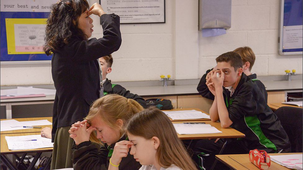 Pupils are shown how to do eye exercises
