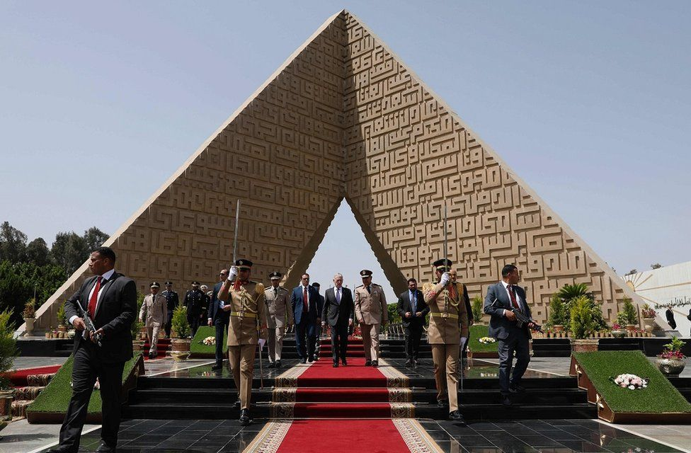 US Defense Secretary James Mattis leaves after placing a wreath at the memorial of the Unknown Soldier in Cairo on April 20, 2017.