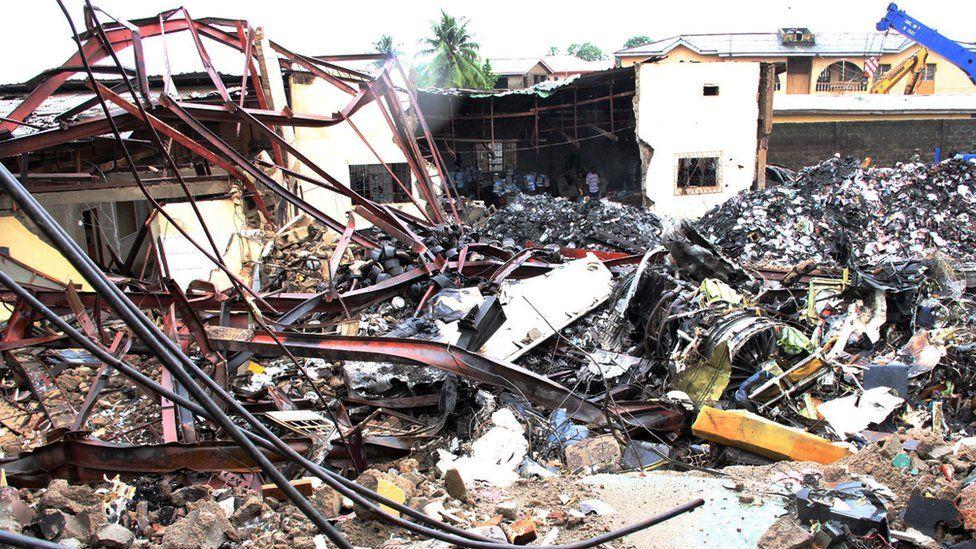 Plane debris on a residential building Lagos, Nigeria (5 June 2012)