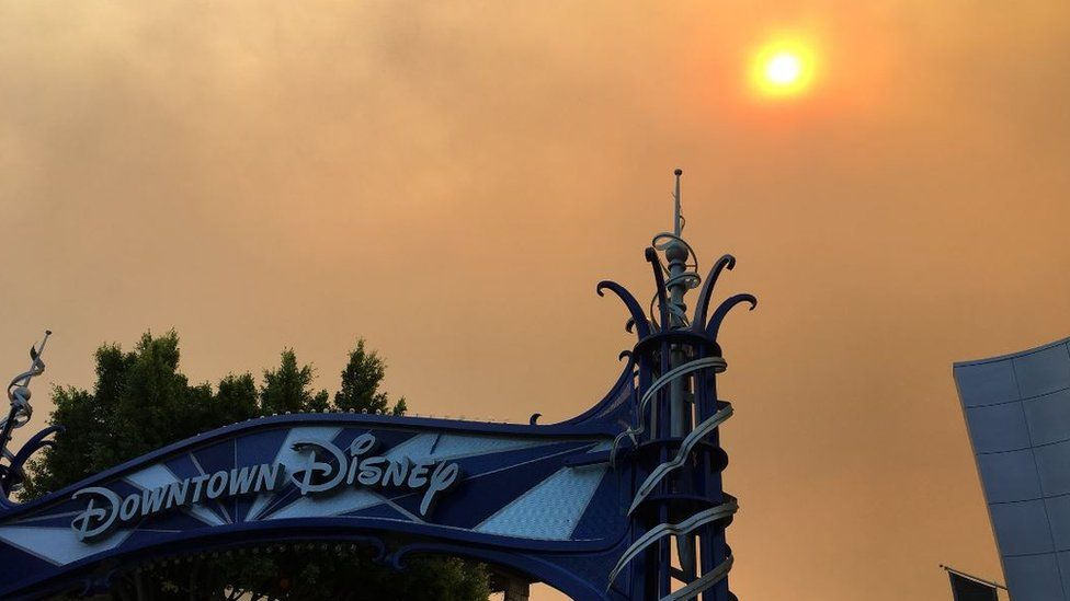 Disney theme park 'downtown' sign and orange sky
