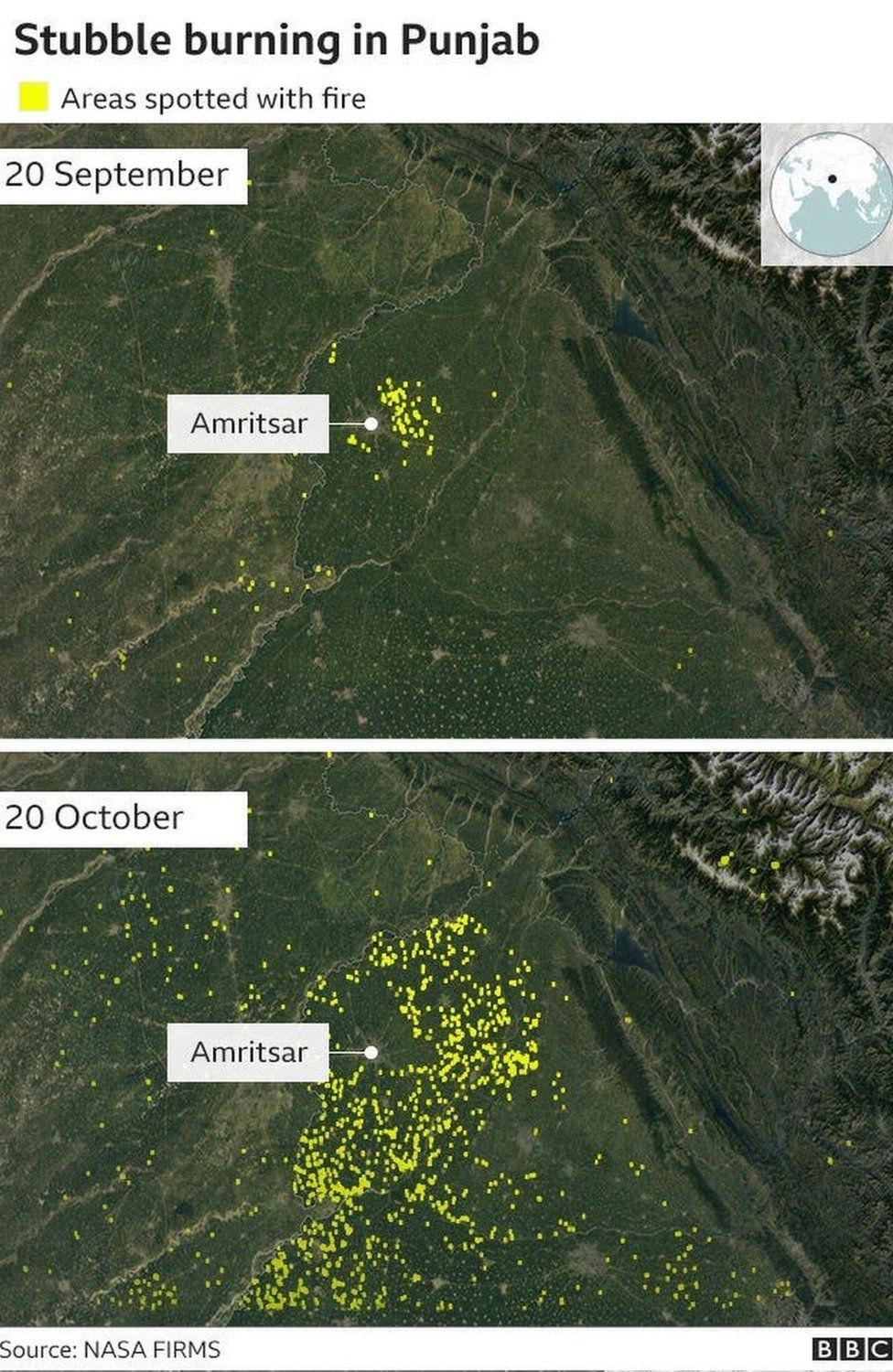 Graphic of stubble burning in Punjab
