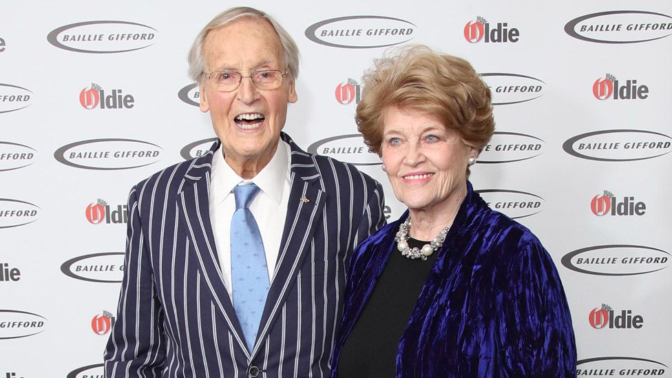 Nicholas Parsons with his wife Ann Reynolds attend the 2019 Oldie of the Year Awards