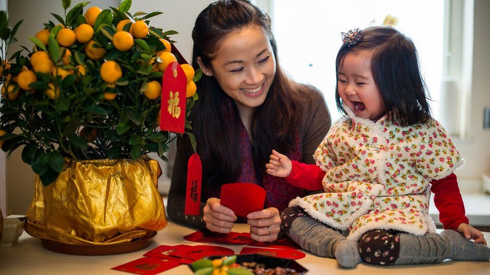 Woman decorating tangerine tree with red envelopes