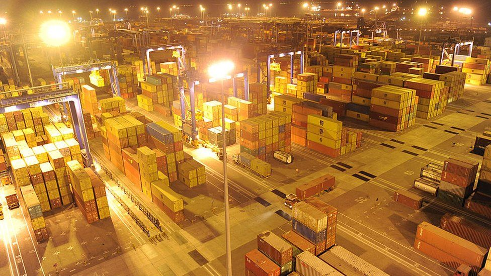Containers at the Mundra Port and Special Economic Zone (MPSEZL) at Mundra, some 400 kms. from Ahmedabad, late on February 18, 2011.