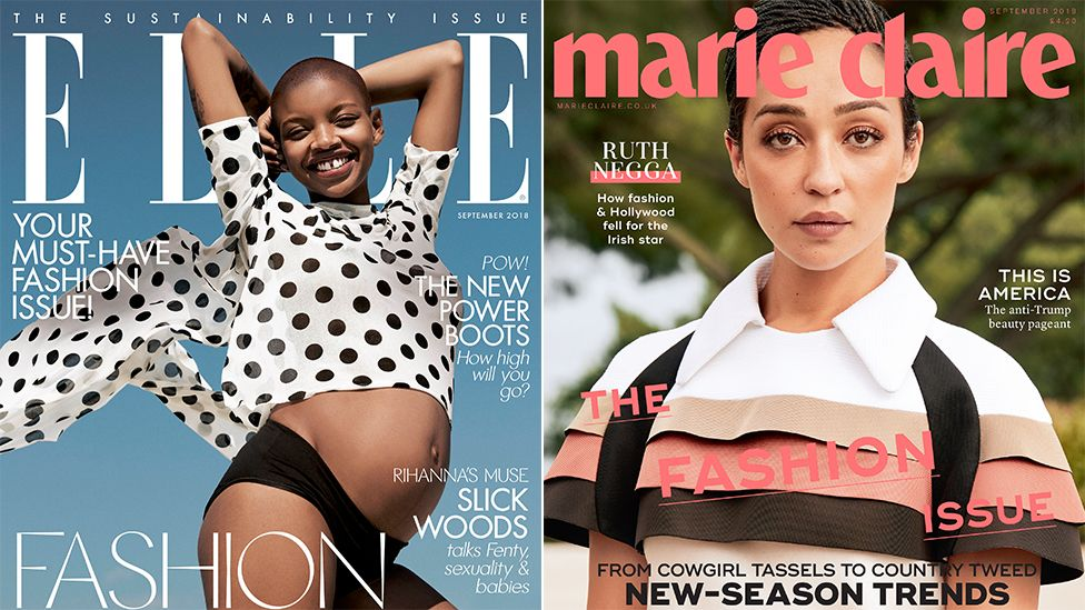 Elle UK front cover featuring Slick Woods and Marie Claire UK front cover featuring Ruth Negga
