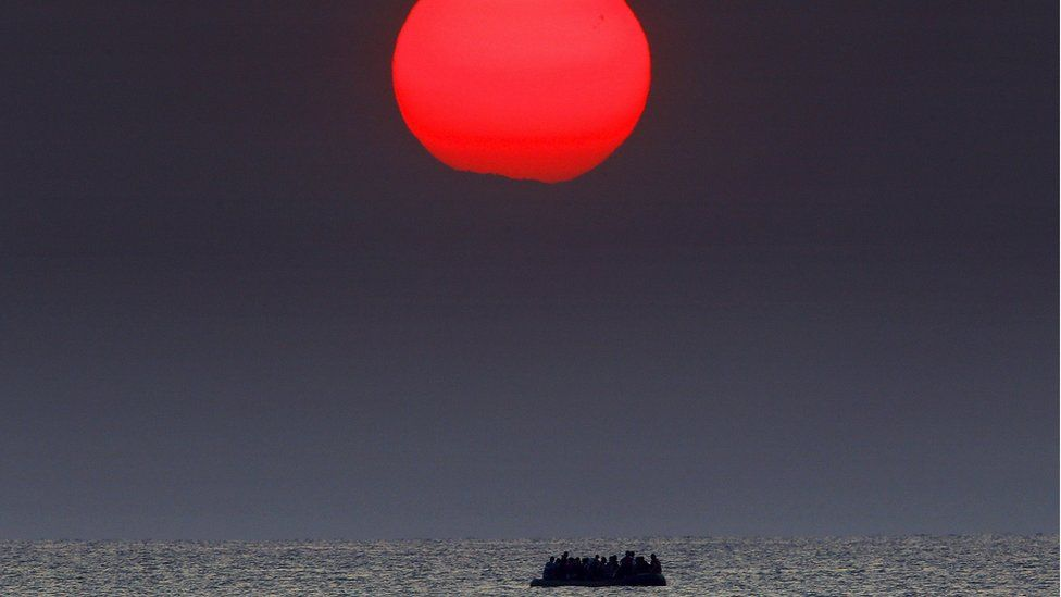 Migrants travelling on the Aegean sea between Turkey and Greece