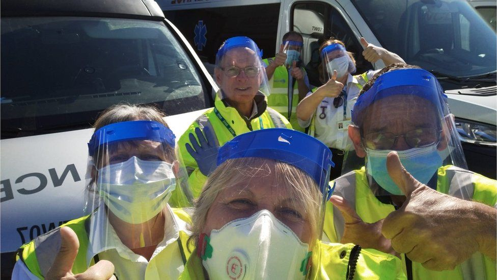 Health workers with visors