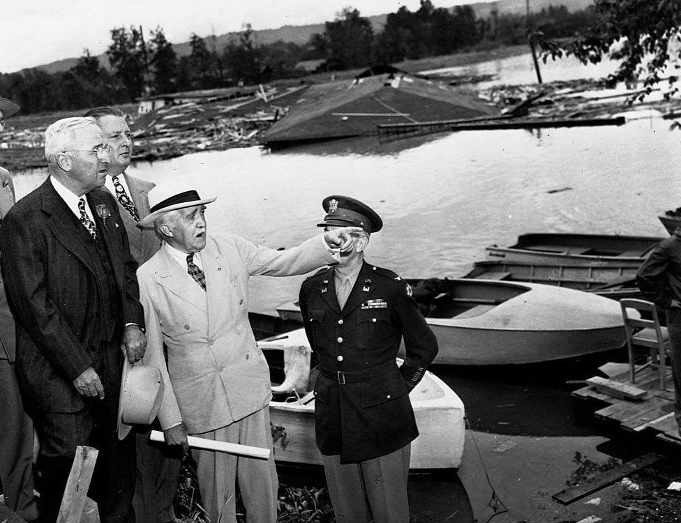 President Harry Truman at site of Vanport flood