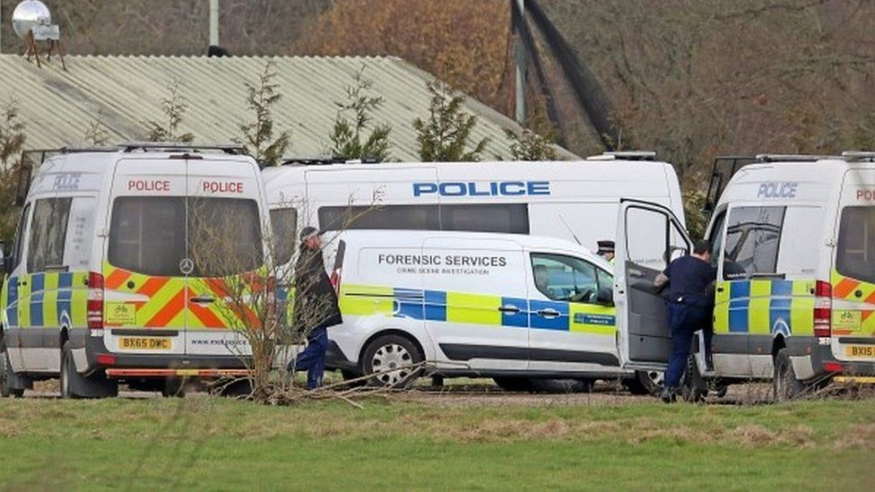 Police are seen at the Great Chart Golf Leisure Country Club