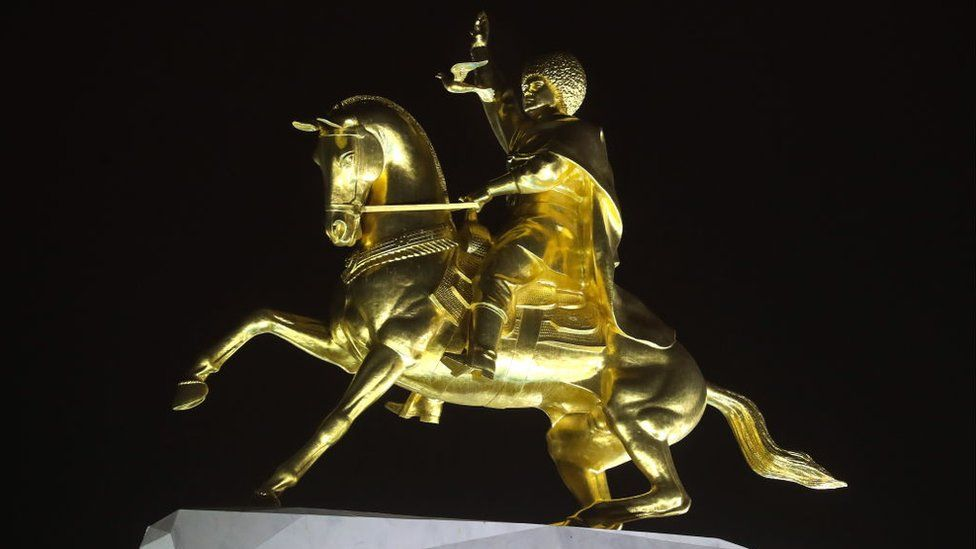 A statue of President Berdymukhamedov on a horse