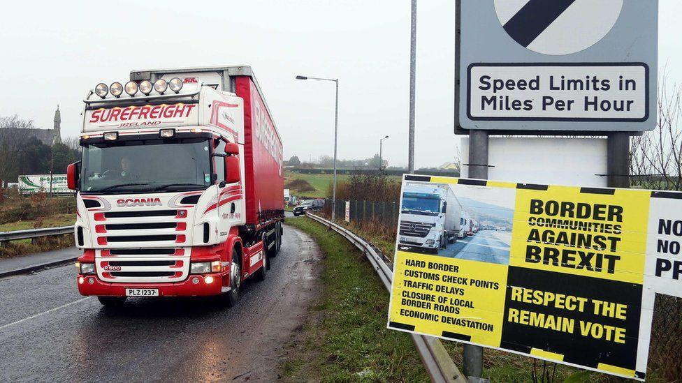 A lorry travels across the Irish border