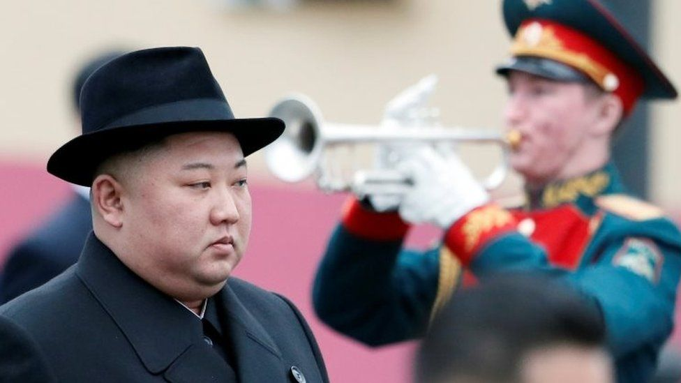 North Korean leader Kim Jong-un at a ceremony in Vladivostok