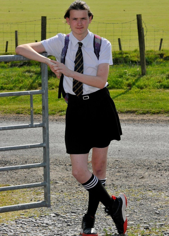 Shane Richardson wearing his sister's skirt.