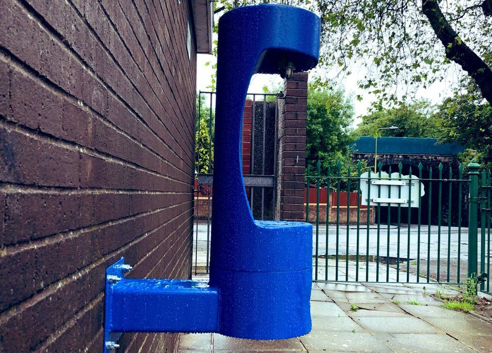 A side view of the water fountain at Romilly Park, Barry