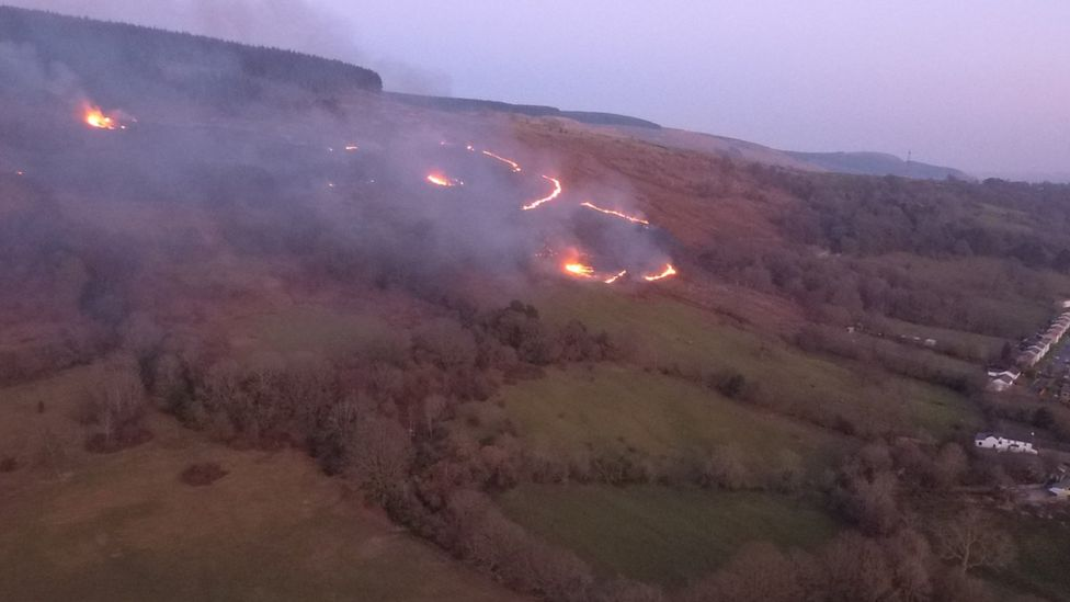 The mountain fire at Cwmbach
