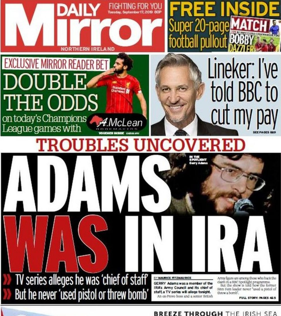 Paper review: Gerry Adams allegations, squirrels and a Daniel O'Donnell gig