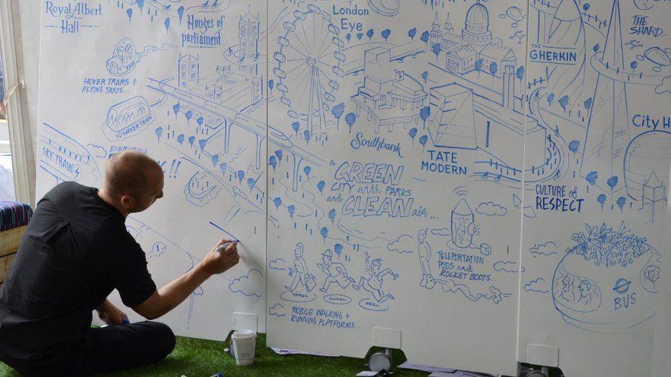 Man creating map of future London