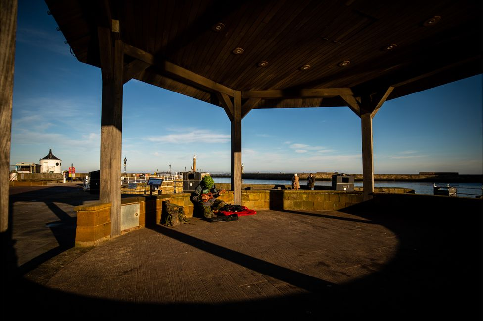 Stewart at the Whitby bandstand