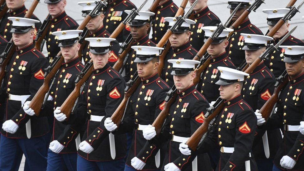 US Marines at the presidential inauguration in 2017