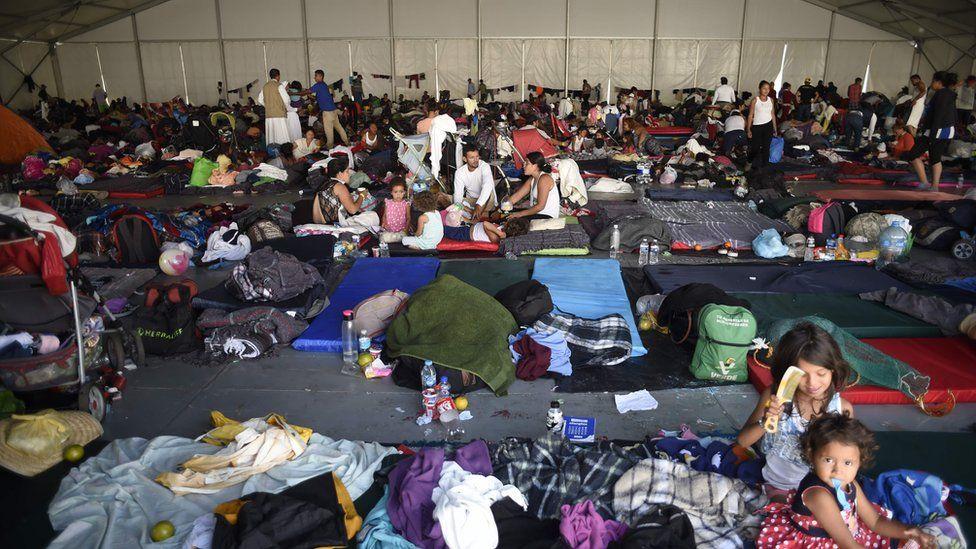 Migrant caravan in Mexico City