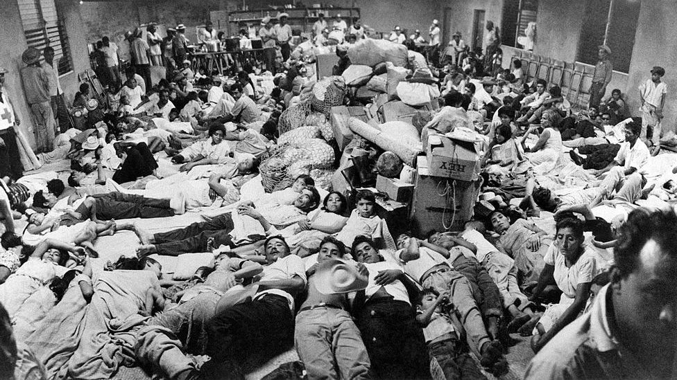 Salvadorans in a Red Cross centre, July 1969
