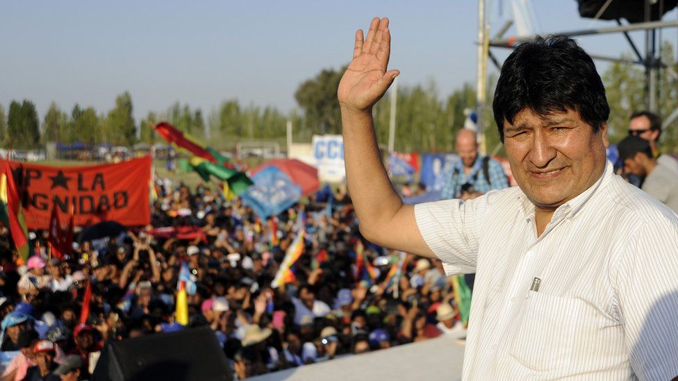 Former Bolivian President Evo Morales, exiled in Argentina, takes part in a meeting organized by the Bolivianos Unidos group in Mendoza, to support the presidential candidate of the Movement to Socialism (MAS) party, Luis Arce, in Mendoza, Argentina, on March 07, 2020.