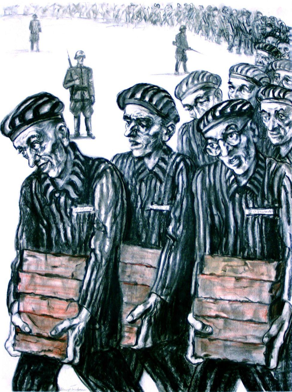Marcha forçada dos prisioneiros carregando tijolos