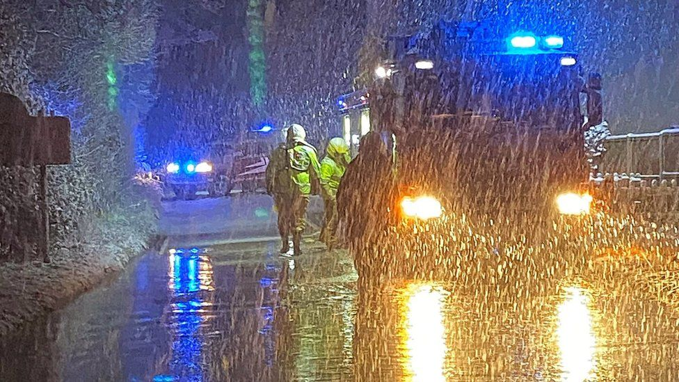Fire services during Shropshire flooding