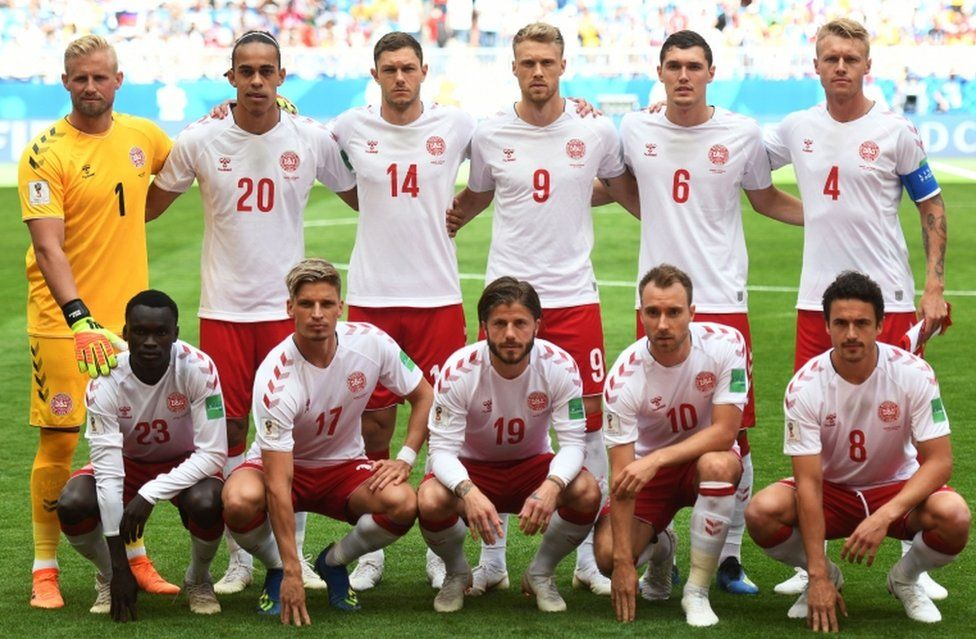 The Denmark starting XI pose for a team photograph before kick-off against Australia on June 21, 2018