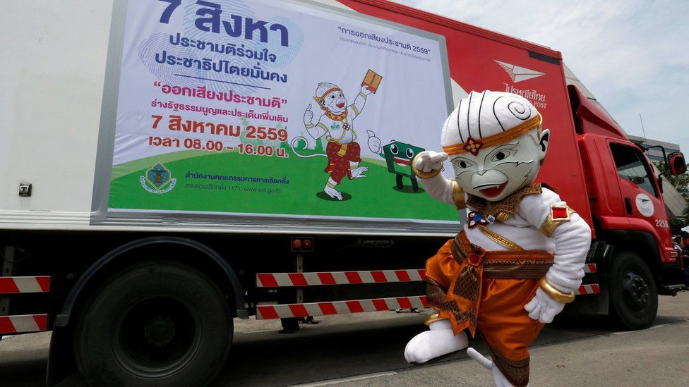 The Thai Election Commission mascot on tour: five million copies of the military-written draft constitution were distributed