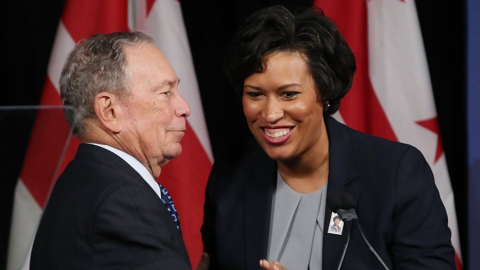Michael Bloomberg receives an endorsement from Washington DC Mayor Muriel Bowser