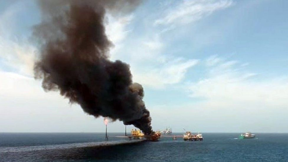 A view of the fire on an oil platform in Ciudad del Carmen, Campeche state, Mexico, 22 August 2021.