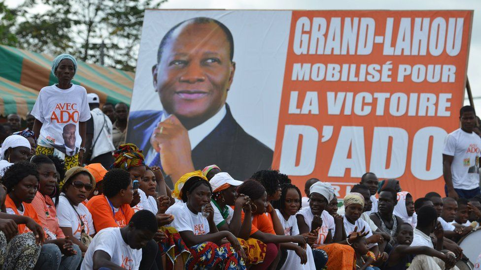 Supporters of Ivory Coast's President Alassane Ouattara and candidate for the upcoming presidential election gather during a presidential election campaign in Grand Lahou