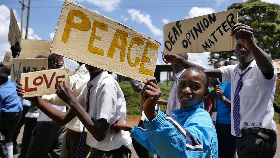 Deaf awareness march in Kapsabet, Kenya, organised by Deafway ICS volunteers.