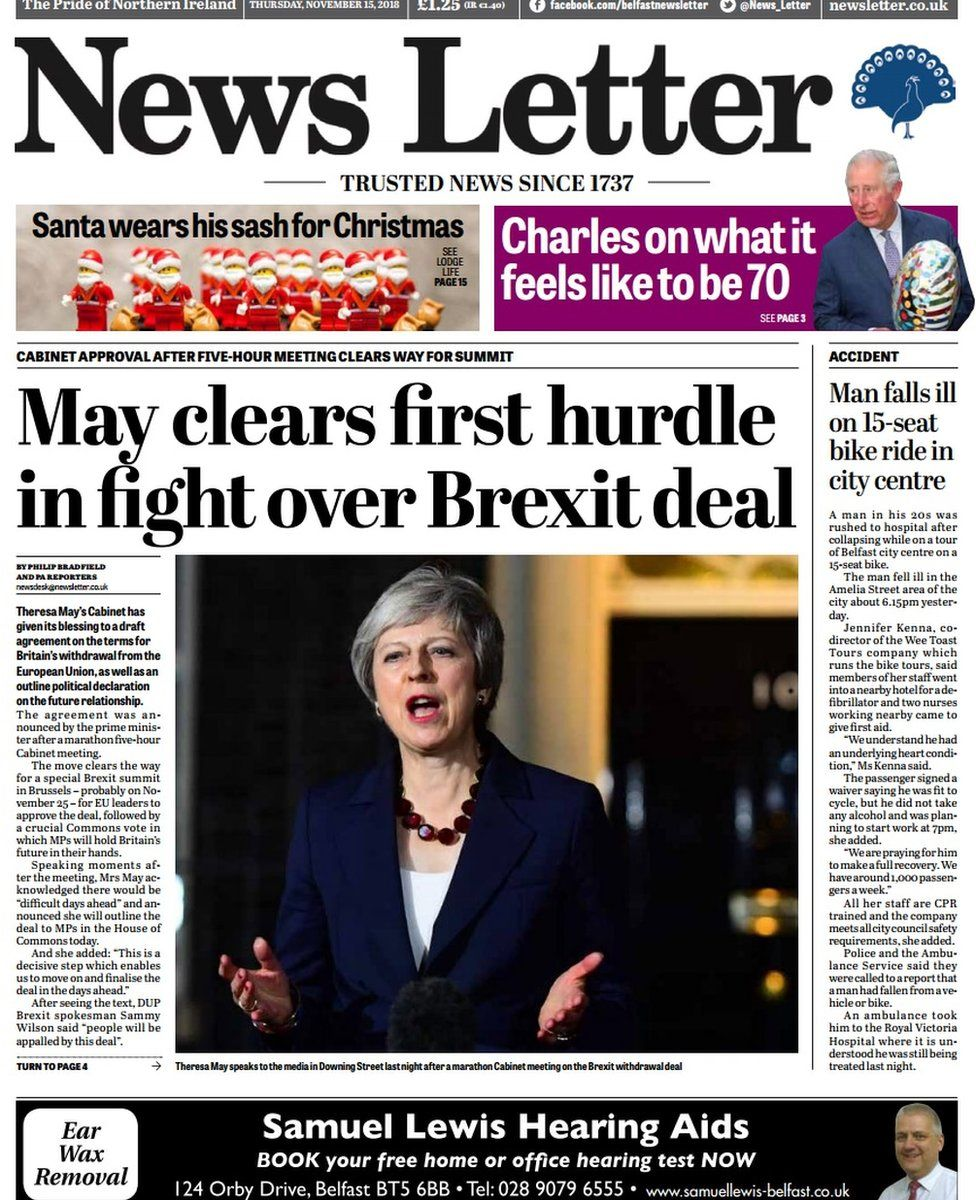 front page of the News Letter, Thursday 15 November 2018